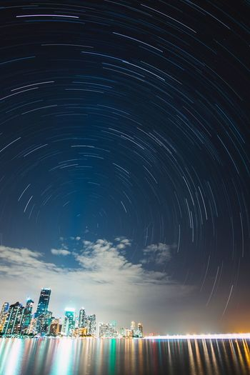 Even when you don't see them, stars are always there Miami Stars Startrails Cityscapes Skyline Reflection