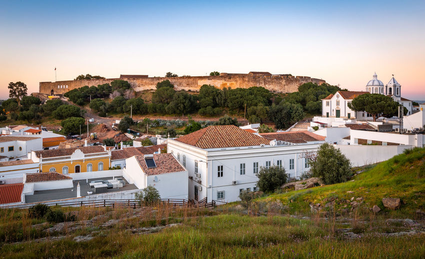 Castle of Castro Marim, Algarve, at sunset Architecture Built Structure Building Exterior Building Plant Tree Residential District House City Sky Nature Roof No People High Angle View Day Landscape Environment Outdoors Town Land TOWNSCAPE Castle Castro Marim Portugal Algarve