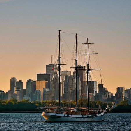 Waterfront City Skyscraper Urban Skyline Clear Sky Sunset Sailboat Lakeontario  Lakeshore Summer In The City Canada Embrace Urban Life