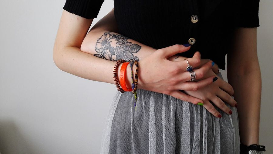 tattoo Womanportrait Portrait Woman Who Inspire You Skin Details Gay Pride Fingers EyeEm Best Shots Human Hand Studio Shot Arts Culture And Entertainment Bracelet Jewelry Fashion Close-up Tattoo Tattooing