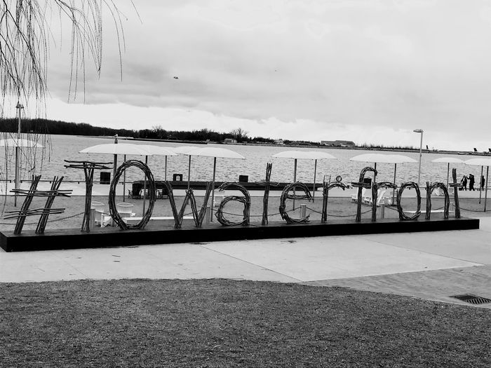 Sign #Towaterfront Lake Canada Toronto Water Front's Sign Sky Water Day Cloud - Sky Outdoors No People