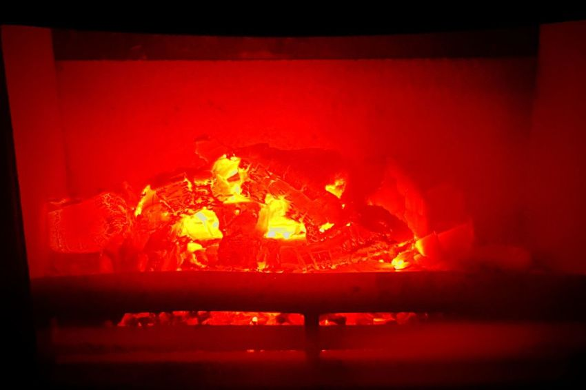 Burning Coals Fireplace Heat - Temperature Flame Red Burning No People Indoors  Close-up