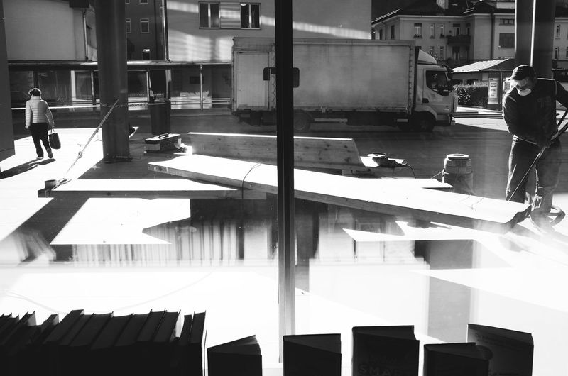 Architecture Building Exterior Built Structure City City Life Design Dramatic Angles Everyday Lives In Front Of Lines And Shapes Office Building Person Silhouette Monochrome Photography TakeoverContrast Window Worker