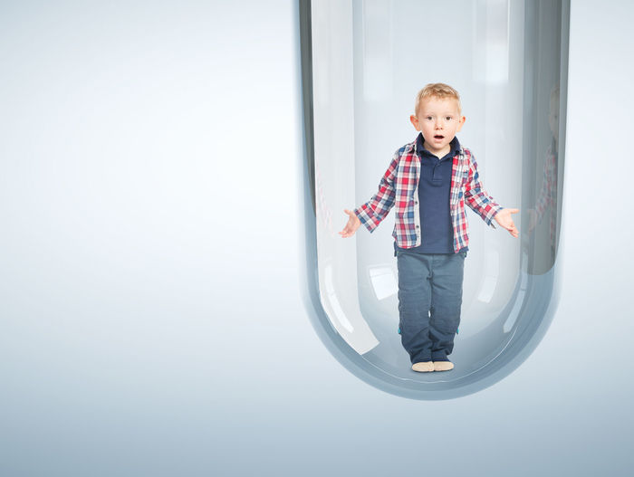 Born Casual Clothing Child Childhood Conceptual Photography  Glass Kid Looking At Camera Portrait Test Tube Vitro Glass