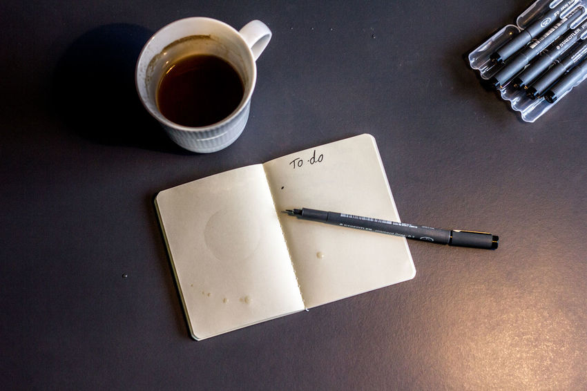 Coffee Coffee Break Desk Desks From Above Notebook Pen Remember To Do