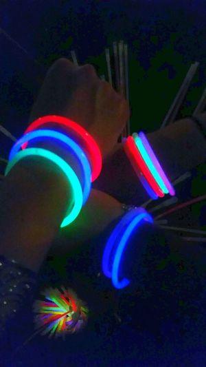 Fluorescent Light Fluorescent Colors Fluoparty Fluo Bracelets Black Background Multi Colored Night Neon