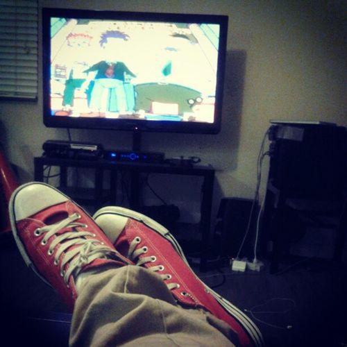 My type of Friday chillin at the spot watchin rugrats!! Rugrats Redchucks Sdsu