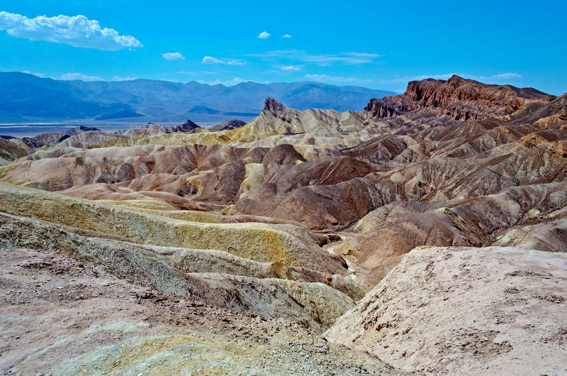 Zabriskie Point, scenic place in Death Valley, California, USA Arid Climate Beauty In Nature Climate Desert Environment Eroded Formation Geology Land Landscape Mountain Mountain Range Nature No People Non-urban Scene Outdoors Physical Geography Rock Rock - Object Rock Formation Scenics - Nature Sky Solid Tranquil Scene Tranquility