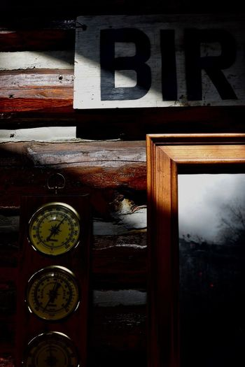 -Nels' Cabin pt 3- Afternoon Antique Barometer Birch Light And Shadow negative space Cabin Number No People Day Close-up