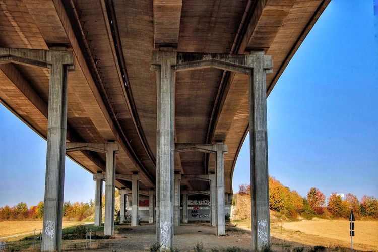 Bridge 🌉 EyeEm Selects Architecture Built Structure No People Architectural Column Nature Sky Bridge Connection Low Angle View Day Transportation Bridge - Man Made Structure Clear Sky Land Road Outdoors Underneath Below Blue Girder