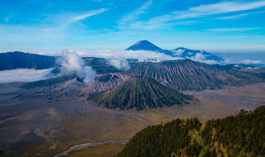 Scenic View Of Mt Bromo Against Blue Sky