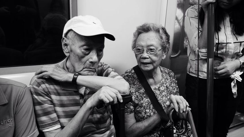 Old Couple Old Old Man Old Woman Couple Elderly Subway HongKong Hong Kong ASIA China Metro Uran Feel The Journey The OO Mission
