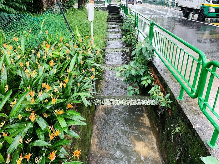 High angle view of steps by canal