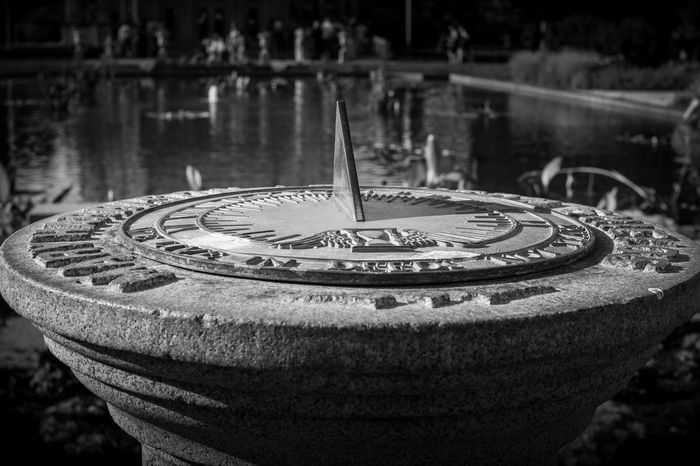 Sundial No People Drinking Fountain Balck And White
