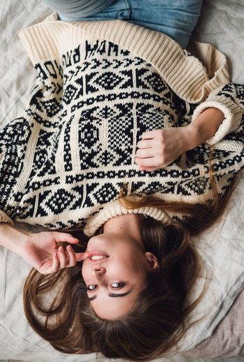 Day People Adult Young Adult One Person Close-up Bedroom Women Smiling Happiness Relaxation Comfortable Home Interior Real People Lying Down Bed Directly Above High Angle View Indoors  Lifestyle Portrait Of A Woman Cozy At Home Cozy