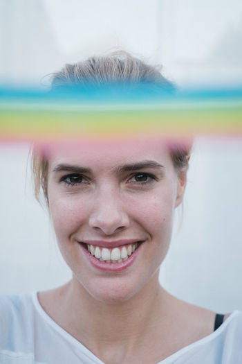Rainbow Rainbow Rainbow Colors Rainbow🌈 Women Blond Hair Blonde Girl Portrait Headshot Smiling One Person Front View Happiness Teeth Toothy Smile Emotion Looking At Camera Real People Young Women Adult Young Adult Lifestyles Day Close-up Beautiful Woman Human Face