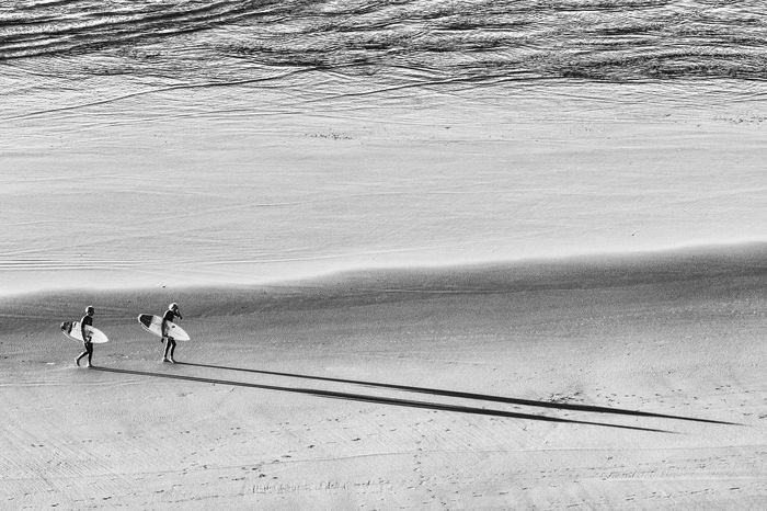 Shadow Surfers Shadows Blackandwhite Raglan Nz Beach Sand Beach Outdoors Real People