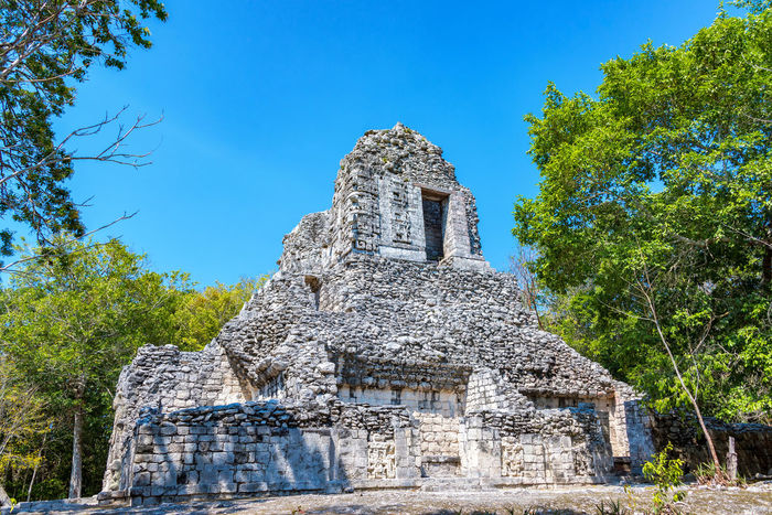 Temple in the ancient Mayan city of Chicanna, Mexico Ancient Architecture Central America Mayan Mayan Ruins Mexico Ruins Travel Yúcatan Architecture Chicanna Civilization Clear Sky History Maya No People Outdoors Sky Tourism Travel Destinations Xpujil Yucatan Peninsula