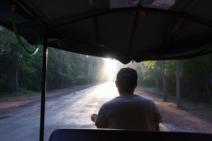 SIEM REAP - JULY 14: An unidentified man drives a tuk tuk for tourists at dawn in around the Angkor Wat Temple complex on July 14, 2016 in Siem Reap, Cambodia. Angkor Thom Buddha Buddhist Cambodia Hindu Hinduism Khmer Culture Tourist Tourist Attraction  Travel UNESCO World Heritage Site Angkor Wat Apsara Buddhism Cambodian Khmer Khmer Empire Khmer Temple Sculpture Southeast Asia Temple Tour Tourism Tourist Destination Tuk Tuk Unesco