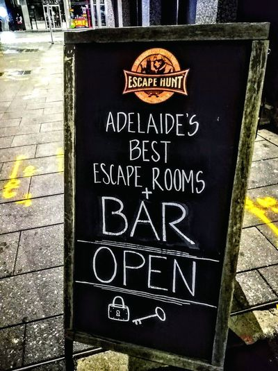 Adult Games Notices The Ultimate Live Escape Game CAPITAL LETTERS. Western Script City Of Adelaide Adelaide CapitalLetters WesternScript Bar Sign Bar Bar Signs Pub Sign Pub Signs Open/closed Open Open Sign Escapehunt Escape Escape Game Escape Games Escape Hunt EscapeHunt™ Escape Hunt Game Chalkboard Chalkboard Sign Chalk Communication Text Information Sign