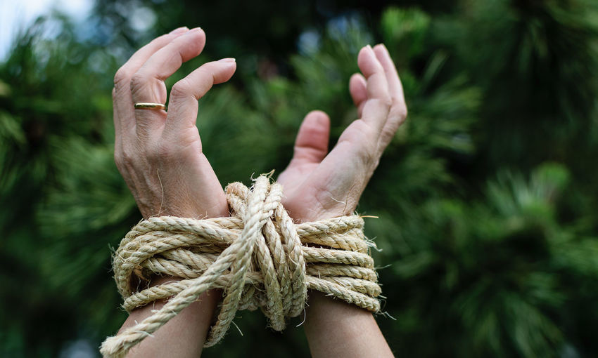 Close-up of hands tied with rope