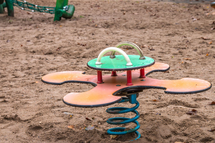 Close-up of playground equipment in park