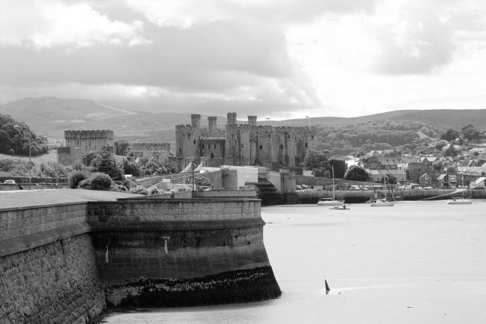 Architecture Built Structure Building Exterior Cloud - Sky Mountain Water Sky Mountain Range Sea Waterfront Travel Destinations History Town Outdoors Residential District Day Castle The Past Fort Tourism Conwy Castle Conwy Harbour North Wales Wales Harbour Black And White Friday
