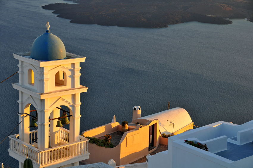church Architecture Building Exterior Built Structure City Dome High Angle View Night No People Outdoors Place Of Worship Religion Santorini Santorini Church Scenics Sea Sky