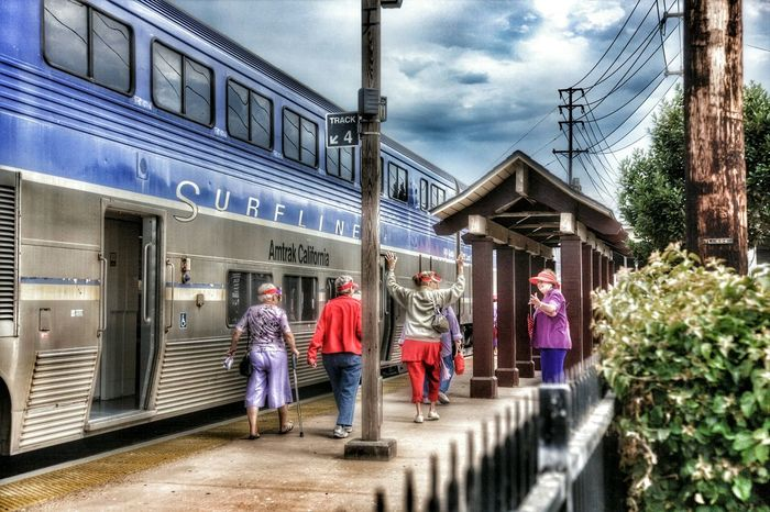 I Love My City Old Town San Diego, CA Red hat society getting on the suft train Enjoying Life Special Effects Walking Around The City  Discover Your City City Life People Photography red hat society Red Hat Society
