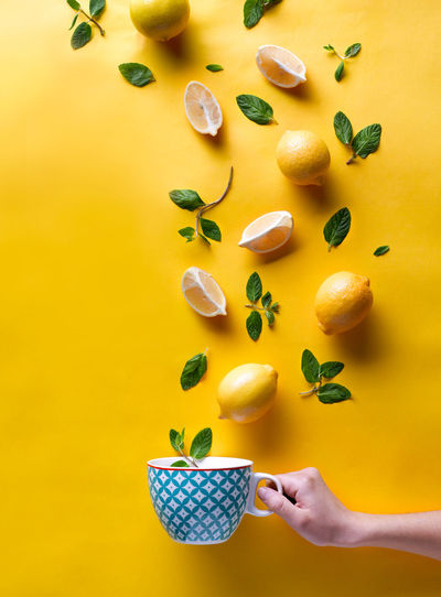 Beverage Food And Drink Tea Colorful Food Food And Drink Food Photography food stories Freshness Fruit Healthy Eating Holding Lemon Lemons Lifestyles Mints Multi Colored Studio Shoot Studio Shot Tea Cup Tea Time Yellow Yellow Background