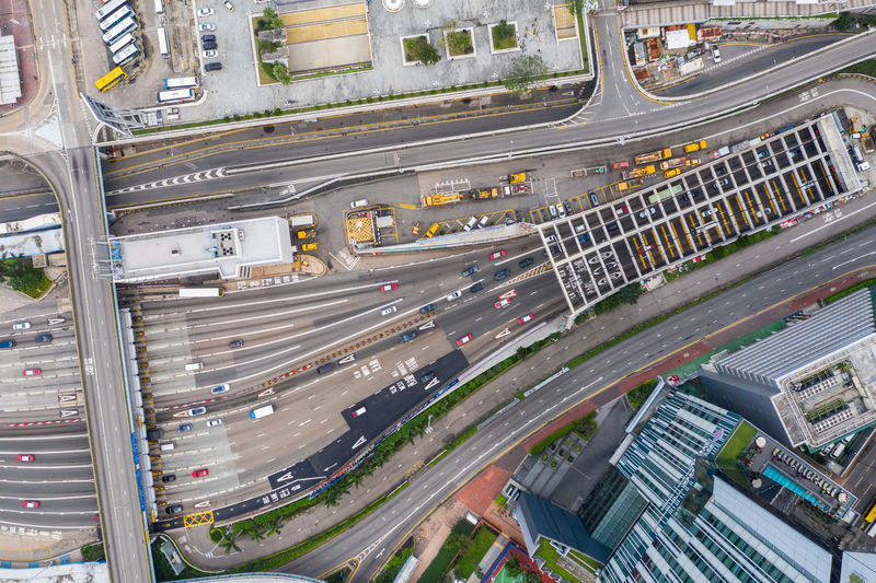 Hong Kong aerial shot Transportation Road Mode Of Transportation High Angle View City Street Architecture Built Structure Traffic No People Land Vehicle Building Exterior Motion City Life Motor Vehicle Highway Car Day Connection Elevated Road Modern Outdoors Overpass Cityscape Multiple Lane Highway