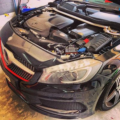 strut bar installed. Improved front body roll. ALUTECH strut bar Mercedes Mercedesbenz Aclass W176 A250 Sport engineered by AMG AclubMalaysia MBSHOOTOUT ClubAKlasse ig_mbenz DBS343