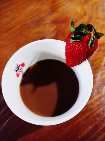 Choco Strawberry Drink🍓 Strawberry Strawberries Drink Chocolate Chocolate Drink Mug Cup Drink Red Table Plate High Angle View Close-up Sweet Food Food And Drink