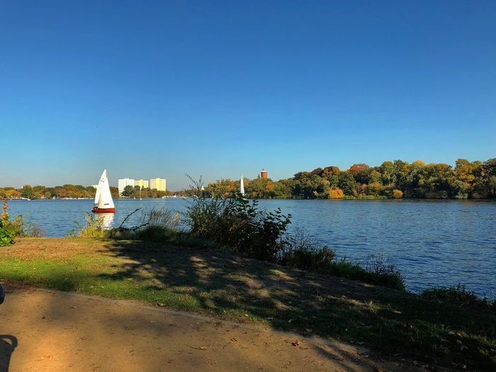 Autumn colors Autumn Germany Havel Potsdam IPhone X Photography IPhone X Water Sky Nature Clear Sky Plant Copy Space Day Built Structure Blue Sunlight Sea Nautical Vessel Beach No People Building Exterior Architecture Tree Beauty In Nature Scenics - Nature Outdoors