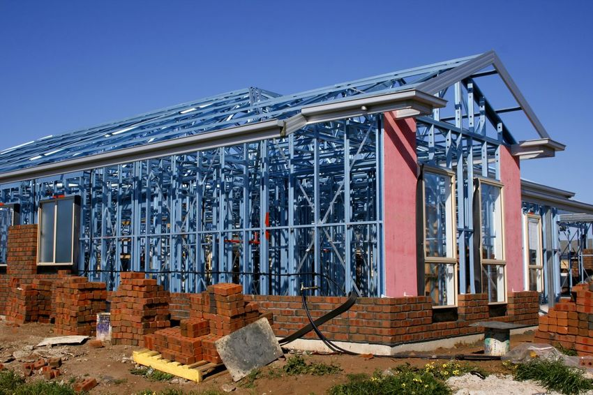 Steel framed housing under construction in Australia Australia Construction Site Industry Steel Frame Architecture Building Exterior Built Structure Complexity Day House Building Housing Industry Metal No People Outdoors Sky Technology