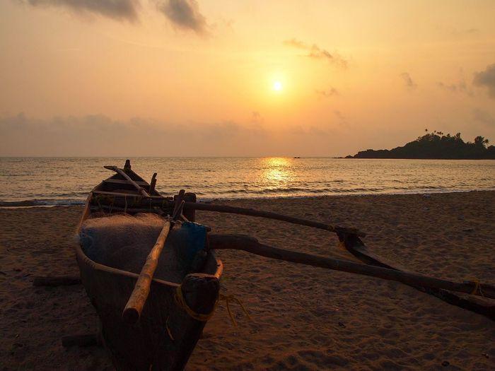 Sea Beach Sunset Sand Sun Travel Destinations Holiday Patnem Goa India Goa ❤❤ Fishing Boats Coast Patnembeach Paradise Beauty In Nature Adventure