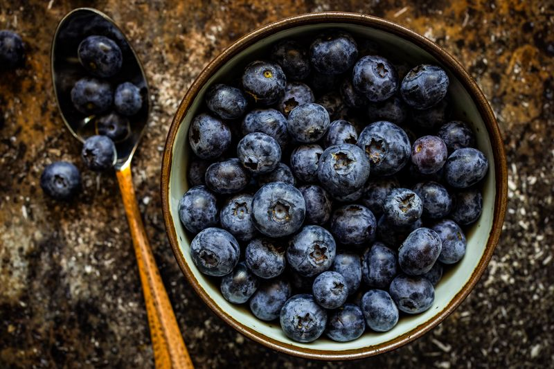 Bowl of blueberries Blueberries Berry Fruit Food Fruit Blueberry Food And Drink Healthy Eating Freshness High Angle View Wellbeing No People Large Group Of Objects Close-up Bowl Directly Above Kitchen Utensil Day Still Life