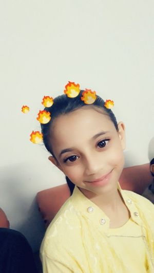 #photography #selfie #snapchat One Person Flower Yellow People Child Real People Girls One Girl Only Portrait Childhood Front View Multi Colored Headshot Children Only Indoors  Looking At Camera Lifestyles Beauty
