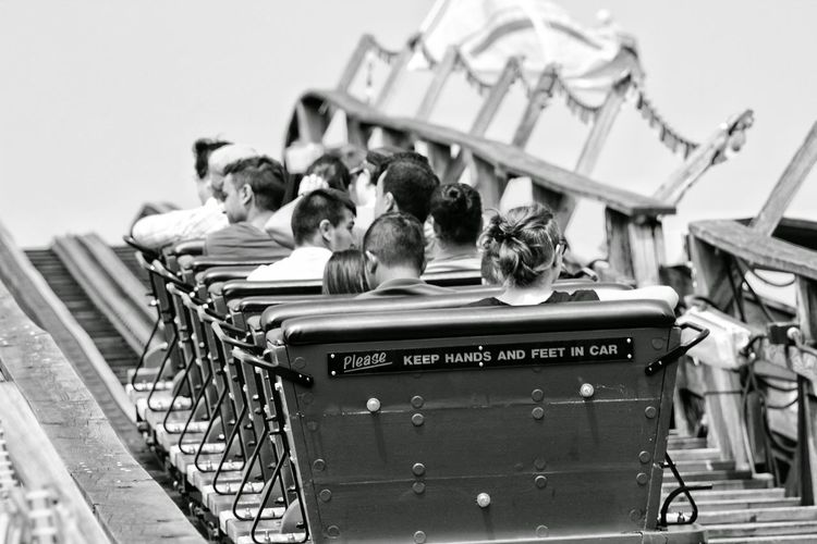 please keep your hands and feet in the car. Photography Blackandwhite Roller-coaster People Candid Photography