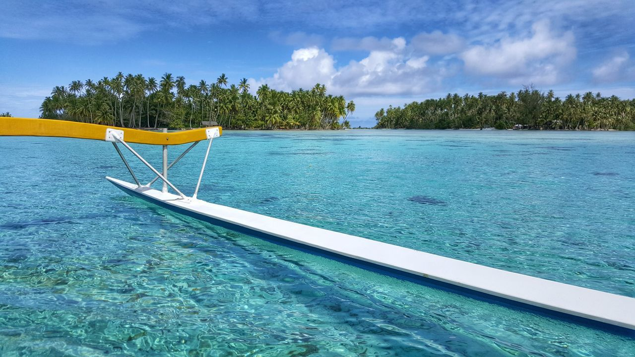 Cropped Image Of Outrigger In Sea At Tahaa Island
