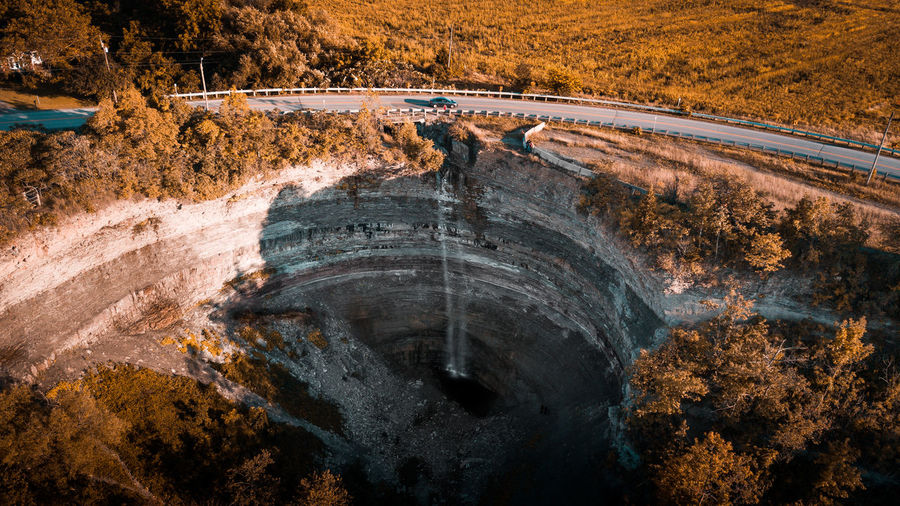 Devils Punch Bowl Nature High Angle View Tree Transportation No People Plant Environment Road Industry Day Mining Outdoors Architecture Construction Industry Land Landscape Mine Rock Water Quarry Aerial View Aerial Aerial Photography Aerial Shot Aerial Landscape Drone  Dronephotography Drone Shot Drone Dji Waterfall Waterfalls Summer Canal Travel Destinations Travel Photography Devils Punch Bowl
