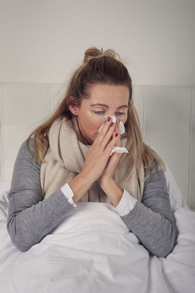 Sick woman with seasonal cold and flu Bed Copy Space Woman Bed Bedroom Best Ager Blond Cold Flu Healthcare And Medicine Ill Indoors  Middle-aged One Person Paper Tissue Sick Sick :( Sickness Sicknessgoaway