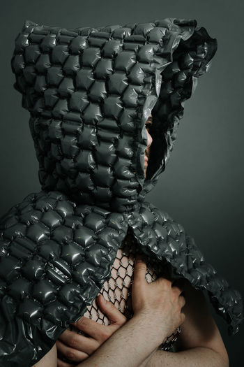 Hood Hood - Clothing Hooded Bubble Wrap Packaging Material Disguise Portrait Men Man One Man Only People Studio Shot Human Hand Close-up Head And Shoulders Human Finger Palm