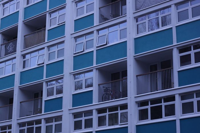 Building Exterior Window Architecture Blue Outdoors Built Structure City Repetition No People Day Full Frame Sky