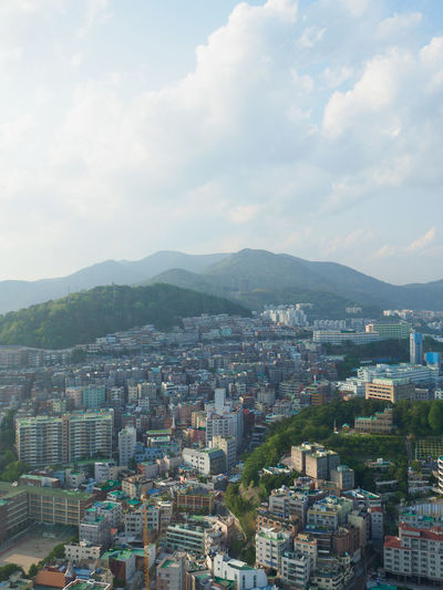 City Cityscape Korea Nature And Lanscapes Skyscrapers Travel Architecture Building Building Exterior Built Structure Busan Busan Tower City Cityscape Crowd Crowded Mountain Mountain Range Nature Nature And City Settlement Sky Skyscraper Tower TOWNSCAPE