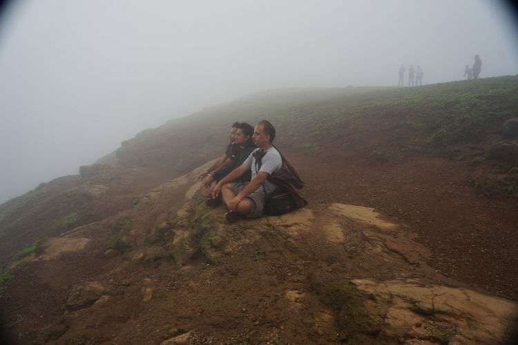 Brahmagiri Trek, Trimbakeshwar, Nashik Breathing Space Beauty In Nature Bonding Day Fog Full Length Hiking Landscape Mountain Nature Outdoors Real People Sitting Sky Togetherness