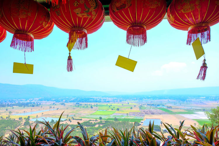 Multi colored lanterns hanging on land against sky