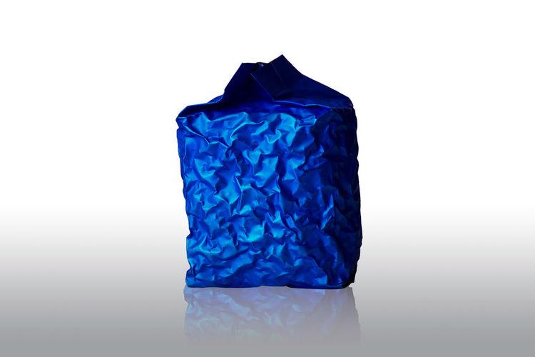 Blue against white background