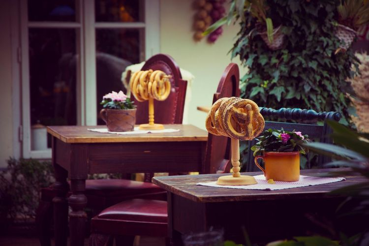 Pretzels on wooden tables