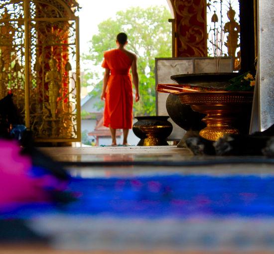 Culture Monk  Temple Thailand Orange Color